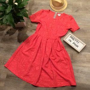 LuLaRoe Amelia Dress Salmon w/ embossed pattern XL